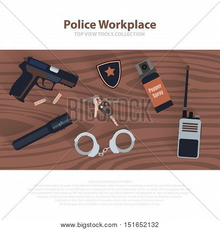 Police workspace icons, policeman working cabinet with equipment on brown wood table. Vector cop symbols in flat. Illustration eps10