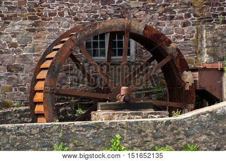 Rusty water wheel at the Red Mill in Clinton, NJ