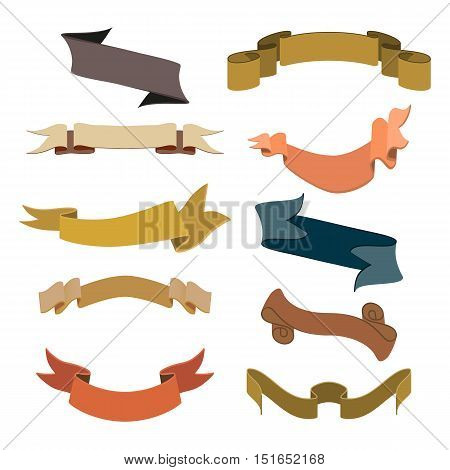 Set of retro ribbons and labels collection. Vector illustration eps 10.