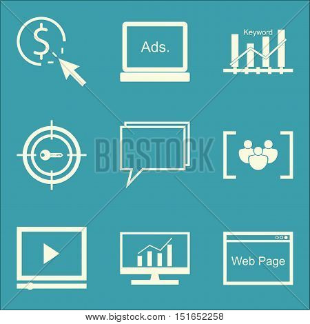 Set Of Seo, Marketing And Advertising Icons On Pay Per Click, Target Keywords, Keyword Ranking And M