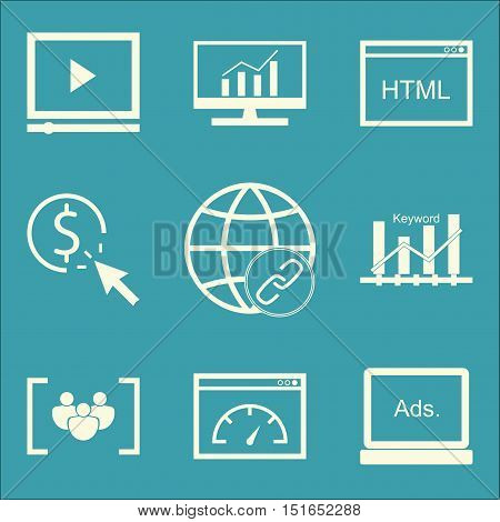 Set Of Seo, Marketing And Advertising Icons On Video Advertising, Comprehensive Analytics, Display A