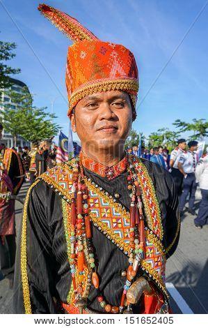 Kota Kinabalu,Sabah-Aug 31,2016:A Dusun Lotud ethnic of Borneo with its costume during the Malaysia National Day at Kota Kinabalu,Sabah,Borneo on 31st Aug 2016.