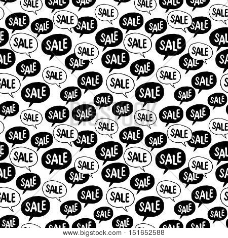 Black Friday Seamless pattern. Speech Bubble with