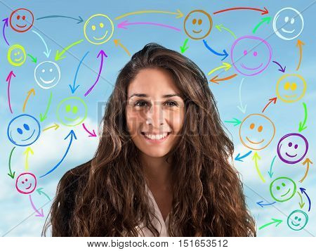 Girl with smiling face with background smilies connected to each other. concept  of chat on social network