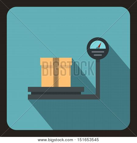 Scales for weighing with box icon. Flat illustration of scales with box vector icon for web