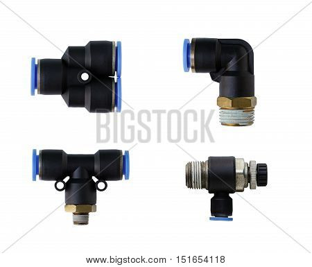 Pneumatic Fittings Several types isolated on white background