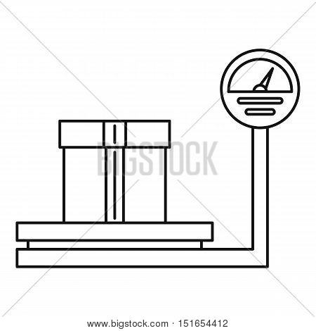 Scales for weighing with box icon. Outline illustration of scales with box vector icon for web