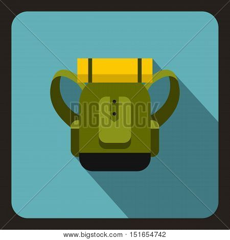 Green tourist backpack icon. Flat illustration of tourist backpack vector icon for web