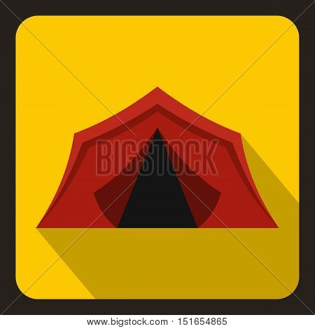 Red tent icon. Flat illustration of red tent vector icon for web