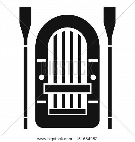 Boat with paddles icon. Simple illustration of boat vector icon for web