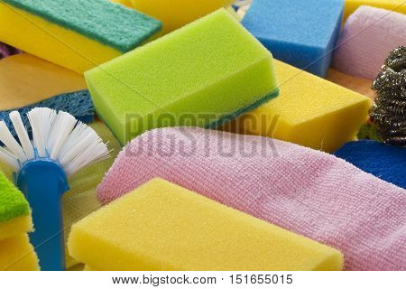 Colorful sponges in detail as background. Shot in Studio.