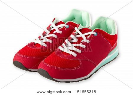 Red sport shoes isolated on white Background