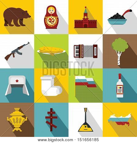 Russia icons set. Flat illustration of 16 Russia vector icons for web