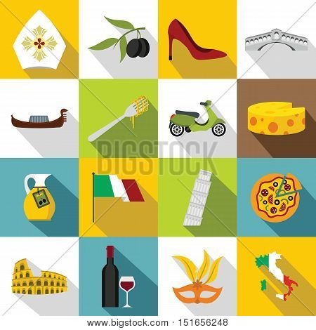 Italia icons set. Flat illustration of 16 Italia vector icons for web