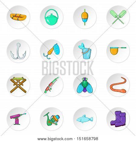 Fishing icons set. Cartoon illustration of 16 fishing vector icons for web