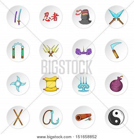 Ninja icons set. Cartoon illustration of 16 ninja vector icons for web