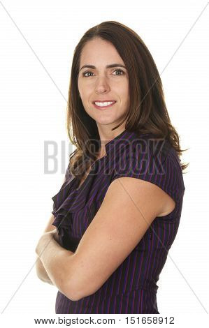 Beautiful Brunette Business Woman in her Late Thirties on a White Background with her arms folded