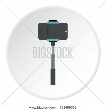 Selfie stick with photo camera icon. Flat illustration of photo canera vector icon for web design