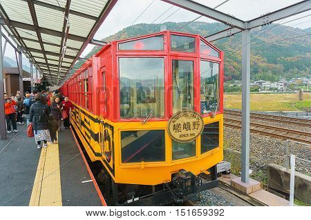 Kyoto Japan - December 3 2015: SAGANO ROMANTIC TRAIN at Kameoka Torokko Station in Kyoto Japan
