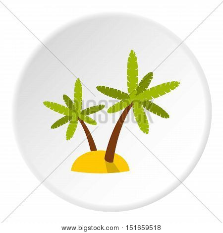 Tropical sea island with palms icon. Flat illustration of island vector icon for web design