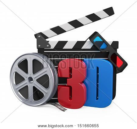 Movie Cinema Concept isolated on white background. 3D render
