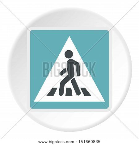 Sign pedestrian crossing icon. Flat illustration of sign pedestrian crossing vector icon for web