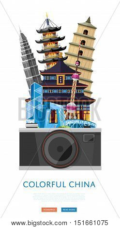 Travel China concept with China landmarks vector. Adventure in Asia destination. China Great Wall. Famous China travel places. Explore China landmarks. Discover China and Chinese culture. Oriental landmarks. Beijing china landmarks.
