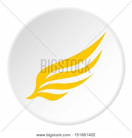 Yellow wing icon. Flat illustration of yellow wing vector icon for web