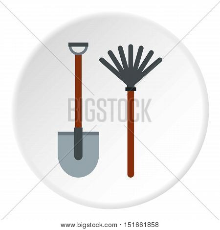 Shovel and broom icon. Flat illustration of shovel and broom vector icon for web