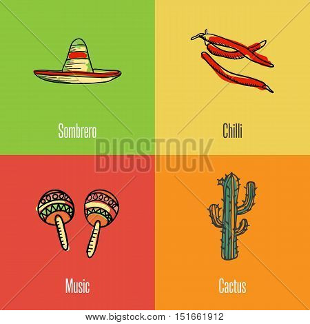 Mexican national, cultural, nature, culinary symbols. Sombrero, chilli peppers, cactus, maracas drawn icons with caption vector illustrations on colored backgrounds.  Mexican travel concept. Mexican art. Travel to Mexico concept. Discover Mexico. Flyer of
