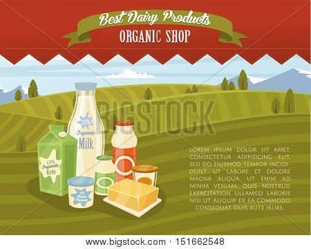 Farm products banner with dairy product on wooden table and rustic background of green rural landscape vector illustration. Dairy farm food. Healthy nutritious concept with butter, eggs, milk, yoghurt, cheese, kefir. Organic product. Dairy concept. Dairy
