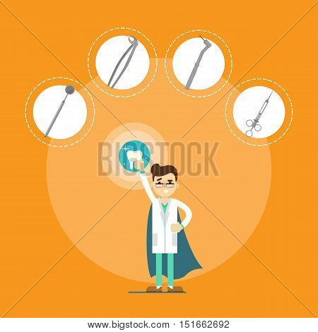Male cartoon dentist in medical uniform and superhero blue cape holding big tooth on orange background with instrument icons, vector illustration. Dental office banner. Oral hygiene, tooth health. Ad for dental clinic or dentist office. Dentist equipment
