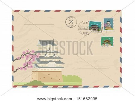 Japan vintage postal envelope with postage stamps and postmark vector illustration. Japanese ancient temple. Japanese air mail stamp. Japanese postal services. Envelope delivery. Travel on Japan concept. Explore Japan. Greetings from Japan concept