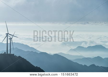 wind turbines and the sea of clouds at jiugong mountain hubei provinceChina