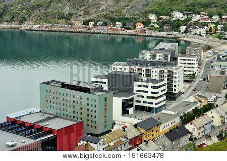Hammerfest Norway - August 05 2016: view of Hammerfest City