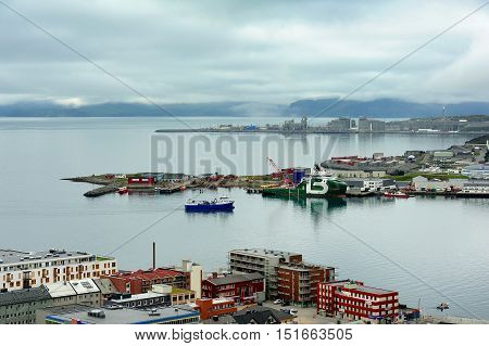HAMMERFEST NORWAY - August 05 2016: ships in the port Hammerfest