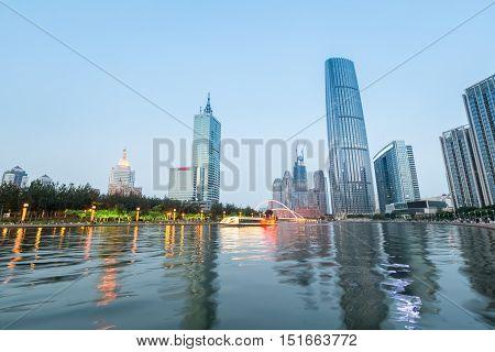 beautiful river with modern buildings at tianjin at nightfall China
