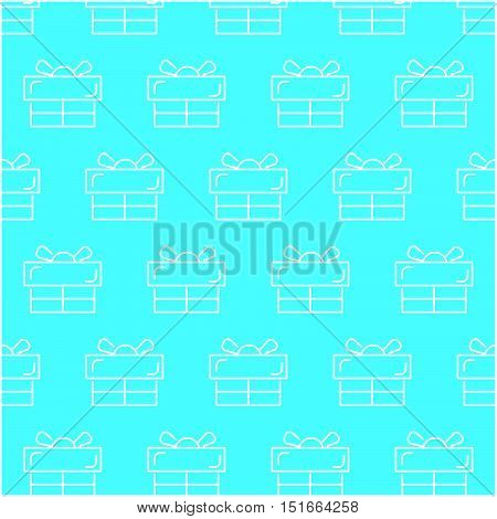 seamless white gift box abstract pattern with blue background, vector, copy space for text, pastel theme, partially preview image for each pattern
