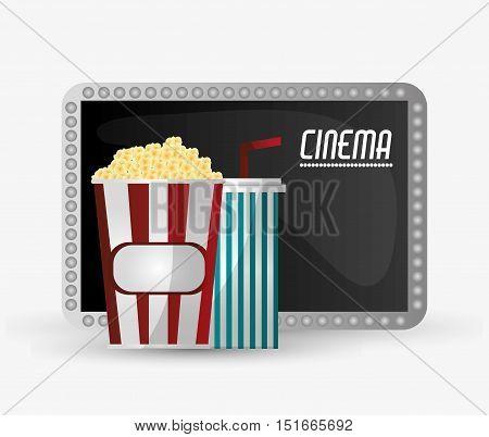 Pop corn and soda icon. Cinema movie video film and entertainment theme. Colorful design. Vector illustration