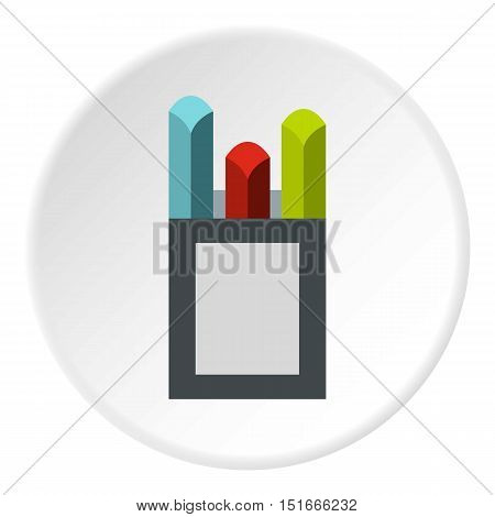 Crayons icon. Flat illustration of crayons vector icon for web