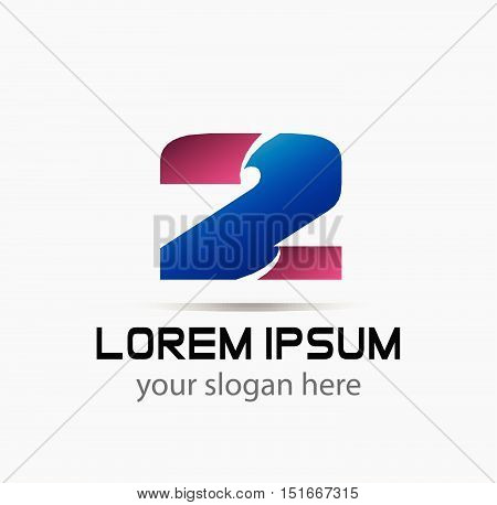 Abstract Number 2 logo Symbol icon design