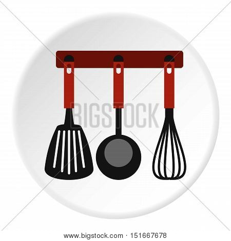 Spatula, whisk and ladle on hanger icon. Flat illustration of spatula, whisk and ladle on hanger vector icon for web