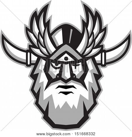 Illustration of a head of Norse mythology god Odin with beard hat and blind on one eye viewed from front set on isolated white background done in retro style. poster