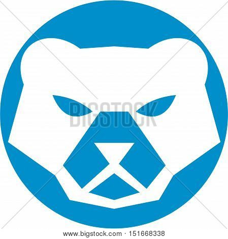 Illustration of a polar bear head viewed from front set inside circle on isolated background done in retro style.