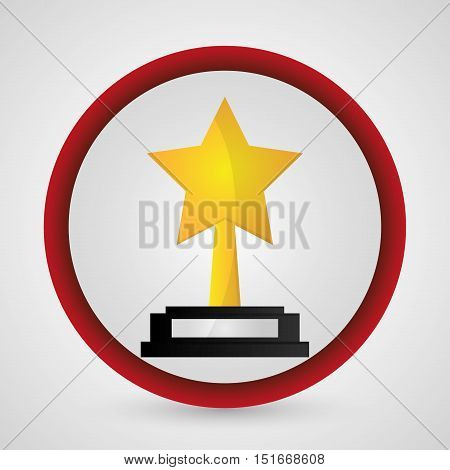 Star trophy icon. Cinema movie video film and entertainment theme. Colorful design. Vector illustration