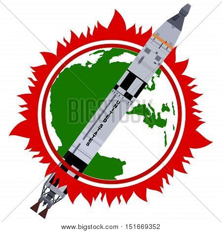 Space rocket in space. The illustration on a white background.