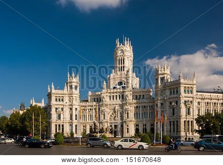 The Cybele Palace Or Palace Of Communication In Madrid, Spain.