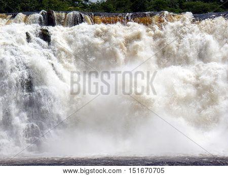 waterfall. The mighty river Carrao falling on the Canaima lagoon, in the Gran Sabana Venezuela