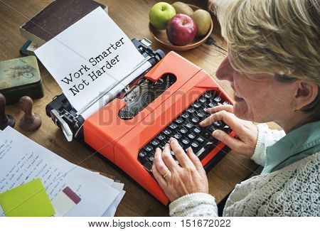 Journalism Working Typewriting Workspace Concept poster
