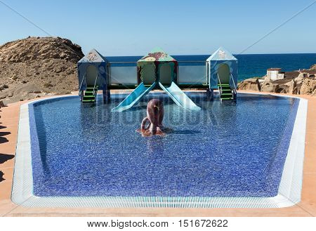 Swimming pool in La Pared on Feurteventura Canary Island Spain